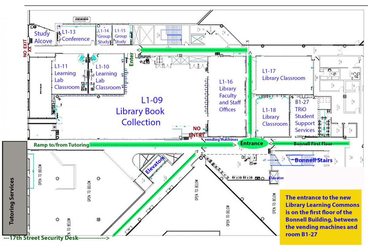 Map to the new library learning commons