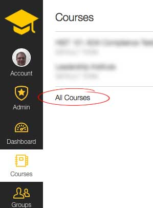 All courses Link screenshot