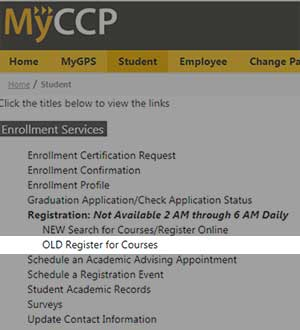 screen grab visual example location of Register for courses