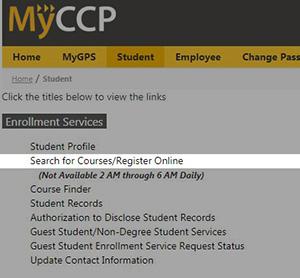 Myccp.ccp.edu Register for classes link