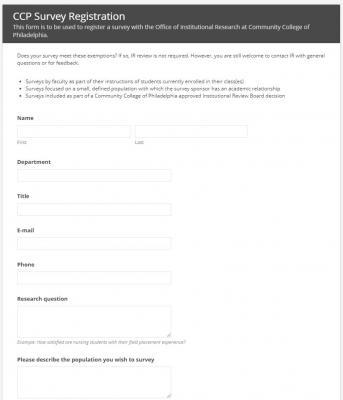 CCP Survey Registration Form