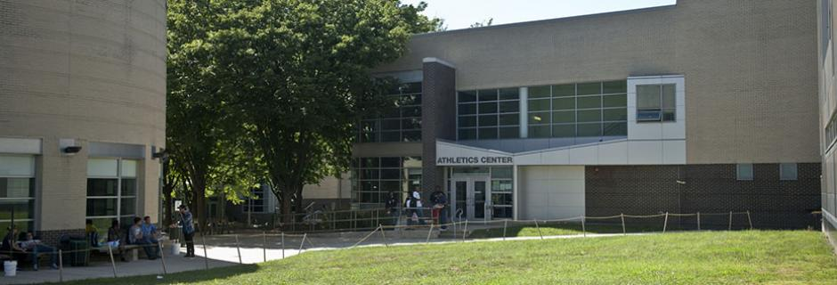 Exterior of the Athletics Center at Community College of Philadelphia.