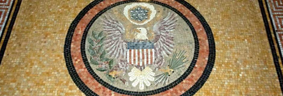 mosaic seal of the US mint located in the main entrance to the Mint Building