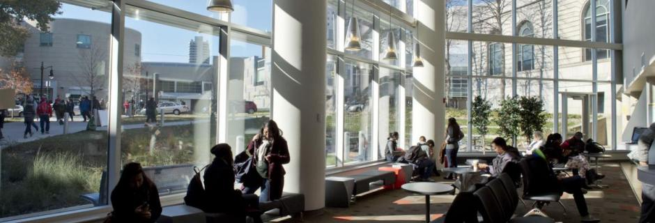 Students in lounge area of Bonnell Building Lobby