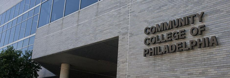 Community College of Philadelphia wording on side of West Building