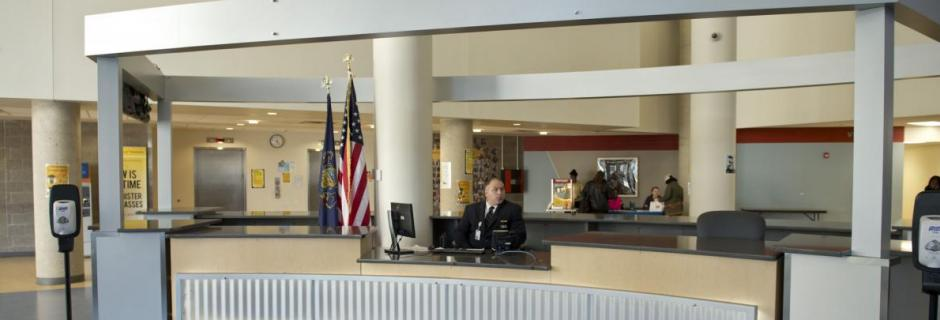 Security and information desk in lobby of Bonnell Building