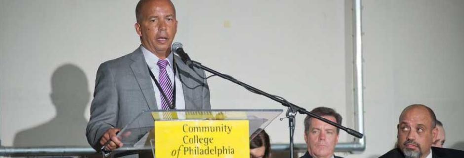 Dr. Generals addressing Community College of Philadelphia.