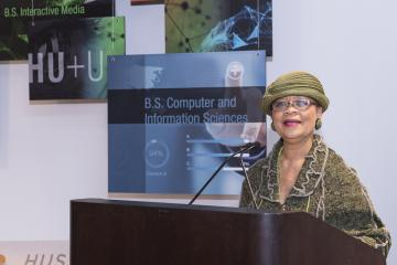 Rev. Dr. Lorina Marshall-Blake, President of the Independence Blue Cross Foundation and Community College of Philadelphia and Harrisburg University Foundation board member, announces the speakers
