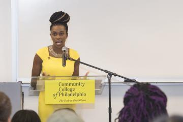 The Executive Director of the City of Philadelphia's Office of LGBT Affairs, Amber Hikes, speaks.