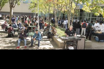 Students, staff, and faculty gather in Winnet Courtyard to enjoy food, fun, music, and entertainment.