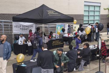 Campus organizations gathered in Winnet courtyard to provide students with resources and information.