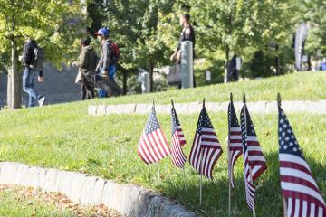 Flags planted in Bonnell Courtyard for the 9-11 Memorial Day Service.