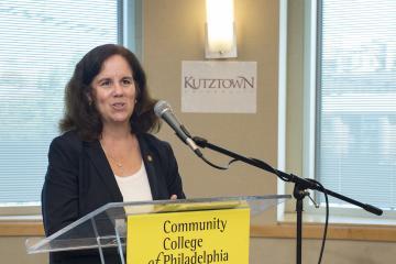 The Provost of Kutztown University, Anne Zayaitz, speaks to the audience.