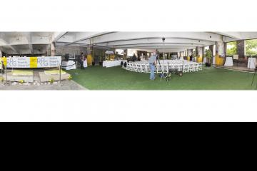 A panoramic view of the party site after set up.