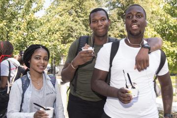 Three students with their ice cream.
