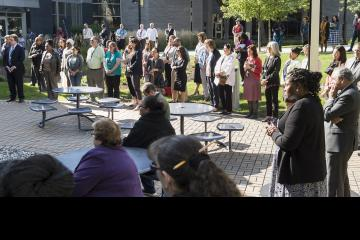 People gathered in Bonnell Courtyard for the ceremony.