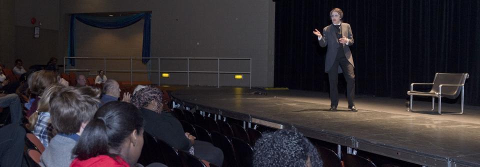 Performance of Edgar Allan Poe on stage