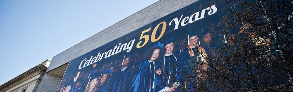 Banner on side of building